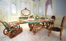 European Dining Room Furniture French Neoclassical Luxury Peacock Green Wooden Carving Small