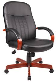 Leather Executive Desk Chair Boss Wood Trim Leather Executive Chair
