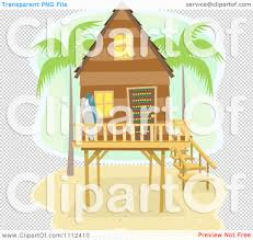 clipart beach house on stilts with palm trees and surf boards