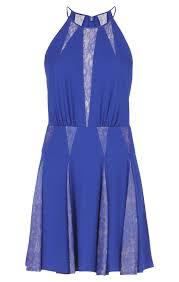 lace inserts halter dress