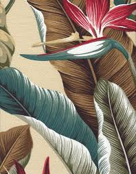 Upholstery Fabric With Birds Bird Of Paradise Vintage Style Tropical Botanical Vintage