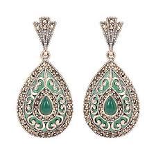 dangling earrings green onyx and marcasite cutwork silver dangling earrings by