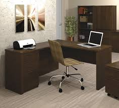 classic theme l shaped desk with dark brown furnishing built in