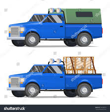 wooden pickup truck vector illustration blue pickup truck village stock vector