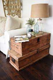trunk style side table living room makeover stacked trunk end table rustic farmhouse
