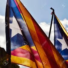Estelada Flag Some Estelada The Catalan Pro Independence Flag Against The Sky