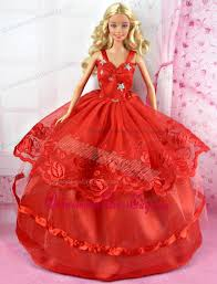 beautiful red party dress tulle noble barbie doll 63 58