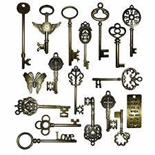 set 6 pcs vintage style vintage skeleton charm set in antique bronze pack