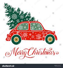 christmas vector illustration christmas tree car stock vector