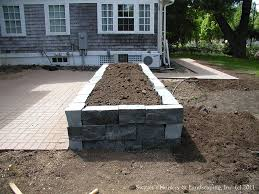 Patio Planter Box Plans by Clay Paver Dinning Patio With Natural Stone Raised Planter And
