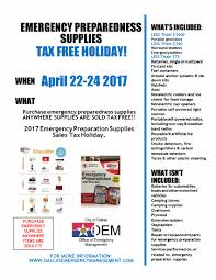office of emergency management emergency supply tax free weekend