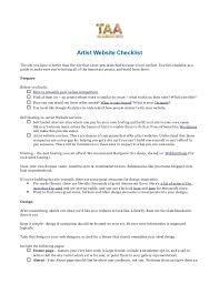 Student Part Time Job Resume by Taa Artist Website Checklist