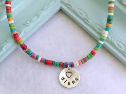 Children S Name Necklace Multicolored Beaded Children U0027s Name Necklace With By Sophiablue