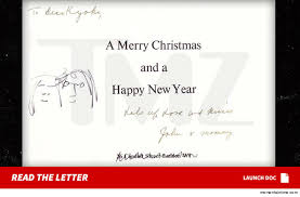 john lennon u0027s christmas card to yoko ono u0027s ex for sale tmz com