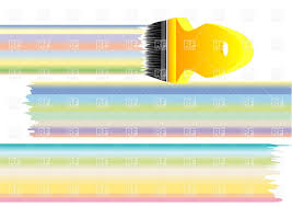 Pastel Colours Paint Brush And Lines Of Pastel Colours Vector Image 34931