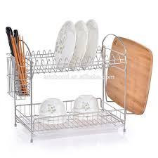 Dish Drainers 2 Tier Stainless Steel Dish Drainer 2 Tier Stainless Steel Dish
