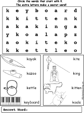 letter k alphabet activities at enchantedlearning com