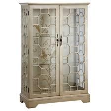 beveled mirrored curio cabinet wayfair cosmopolitan metallic by