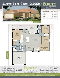 jasper model bronze series 4 bed 2 bath 2 000sf floor plan