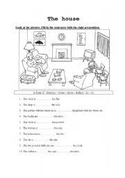 esl worksheets for beginners the house prepositions of place