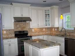 granite countertop cabinets shaker style white glass backsplash