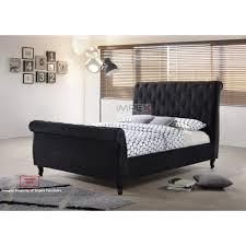 Velvet Sleigh Bed New Chester Plain Black Velvet Bed Frame Double