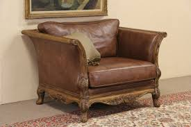 Antique Leather Sofa Sold Bernhardt Country French Leather U0026 Carved Fruitwood Vintage
