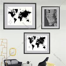 carte monde noir et blanc online get cheap art noir et blanc carte du monde aliexpress com