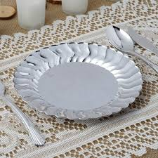 silver wedding plates 12 pack 7 5 disposable salad dessert plates with silver