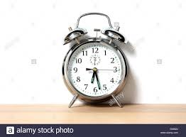 Old Fashioned Alarm Clocks Chrome Alarm Clock With Bells On Set Just Before 6 30 Stock Photo