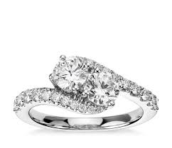 zirconia stone rings images 1 1 3 ct tw two stone cubic zirconia ring in 14k white gold jpg