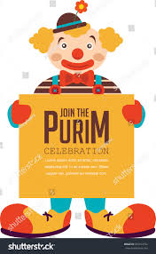 happy purim jewish holiday clown holding stock vector 365213192