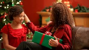 stock footage child giving christmas gift to mother living
