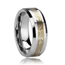 mokume gane kailua beveled wood grain style tungsten ring with mokume gane