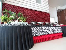 red black and white motif buffet table wedding themes