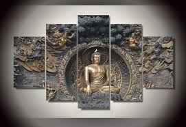 Buddha Room Decor 5 Panel Framed Painting Buddha Statue Painting Wall Room Decor