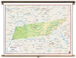 Maps Tennessee by Tennessee State Physical Classroom Map From Academia Maps
