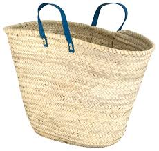 moroccan straw market bag w blue leather strip handles 25