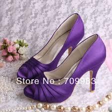wedding shoes purple custom handmade plus size peep toes purple satin wedding shoes