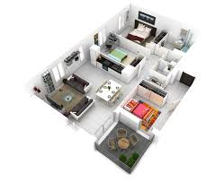 Studio Apartment 3d Floor Plans More Bedroom 3d Floor Plans Architecture Design Outdoor Hotel