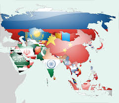 Asia Countries Map by Flag Map