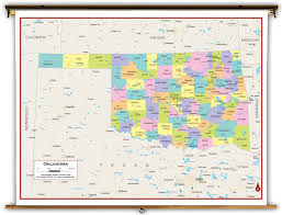 Map Oklahoma Oklahoma State Political Classroom Map From Academia Maps