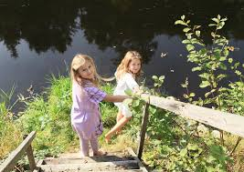 two girls walking to the river stock image image 45677341