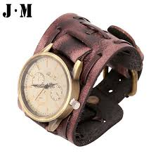 leather wrap bracelet watches images J m character genuine leather men punk bracelet watch wristband jpg
