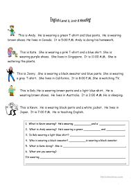 8 free esl she is wearing worksheets