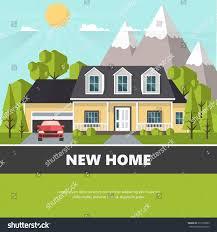 american suburban house family home flat stock vector 511259005