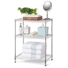 Bathroom Wire Rack Home Storage Space 3 Shelf Wire Rack Chrome Bj U0027s Wholesale Club