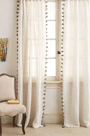 Curtains With Pom Pom Trim Grey And White Curtain