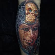 aztec warrior with golden skull headdress best tattoo design ideas
