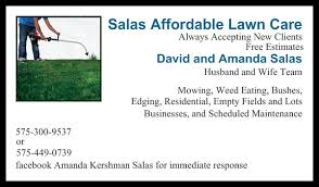Mowing Business Cards Salas Affordable Lawn Care Get Quote Tree Services Carlsbad